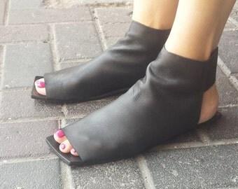 Summer bootie, Leather sandals, Black, Leather sandals women, Closed sandals, Square, Women shoes, Womens leather sandals, Unaunashoes,