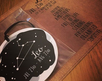 Astrology wooden hanging decoration & card - Leo Constellation