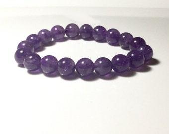Amethyst Bracelet Natural Stone Bracelet Amethyst Gemstone Beaded Bracelet February Birthstone Stacking Bracelet