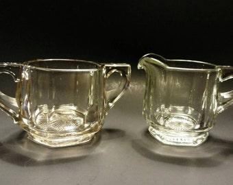 Antique Heisey Heavy Clear Glass Paneled Sugar Bowl & Creamer (154-1)