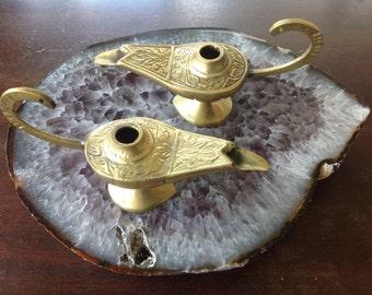 Brass cute genie lamp set of 2