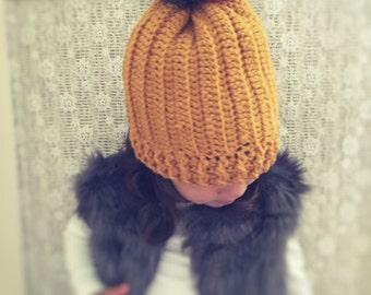 Girls crochet pom pom hat - crochet hat - girls hat - pom pom hat - winter hat