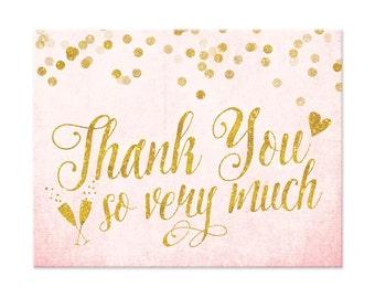 Blush Pink & Gold Thank You Cards - DIY Printable FIle Thank You Cards - Folded Thank You Cards