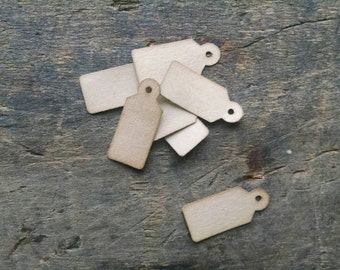 """25 Stained Jewelry Tags, Unstrung, 3/4"""" x 5/16"""", Vintage Jewelry Tags"""
