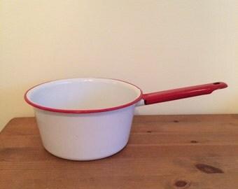 Enamelware Sauce Pan, White and Red Enamelware Pan, Small Sauce Pan Vintage