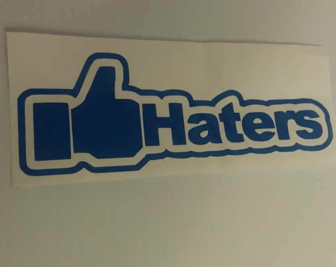 FLASH SALE! BLUE Thumb Up Like Haters Facebook Social Media Vinyl Decal