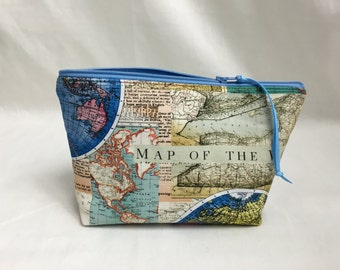 World Map Zipper Gadget Bag, Cosmetic Bag, Jewelery Bag, Toiletry Bag, Clutch Bag