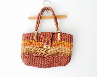 heavy WOVEN 70s JUTE basket purse