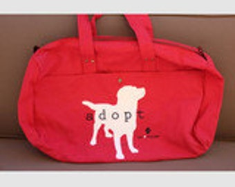 Cotton Canvas 'Adopt' Red Duffle Bag