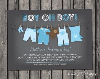 Clothesline Boy Baby Shower Invitation Digital Download