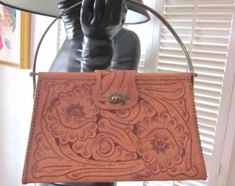 Vintage Tooled Purse / 60s Tooled Handbag / Tooled Leather Purse / vintage tooled handbag