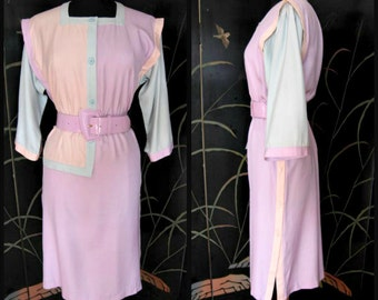 OLEG CASSINI Dress / vintage colorblock dress / pastel colorblock / vintage Oleg Cassini Boutique Dress