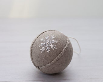 Winter wedding favors, Christmas tree ornament, rustic ornament, natural linen rustic decor covered with cross stitch white snowflake