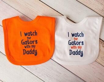 University of Florida Gator Football Bib - Florida Gator Baby Girl - Florida Gator Bib - I watch the Gators with my Daddy/Grandpa