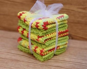 cotton washcloth set, cotton washcloths, set of 6, 6 piece cotton washcloth set, cotton wash cloths, set of six cotton washcloths