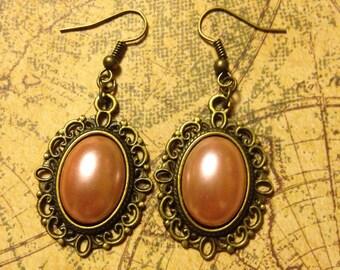 Peach Dreams Brass Filigree Steampunk Earrings