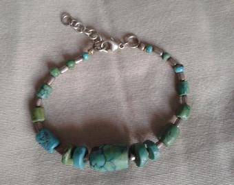 Bracelet,genuine turquoise and sterling silver,adjustable.