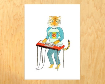 """Unframed Illustrated Tiger on Synth  (11 3/4"""" X 15 3/4"""")"""