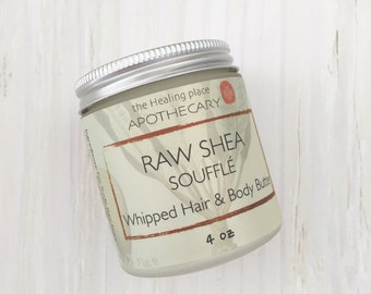 RAW SHEA Soufflé, Hair Butter, Natural Hair Care, Organic Ivory Shea Butter, Whipped Shea Butter, 4oz
