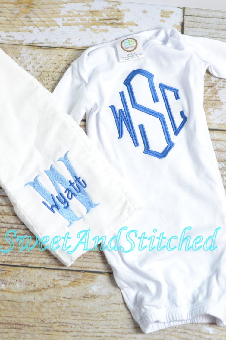 baby boy monogrammed gown baby boy take home by sweetandstitched