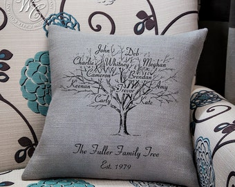 Family Tree, Family Tree Pillow, Gift for Mom, Mother of the Bride, Family Pillow, Anniversary Gift, Grandparents Gift, family name