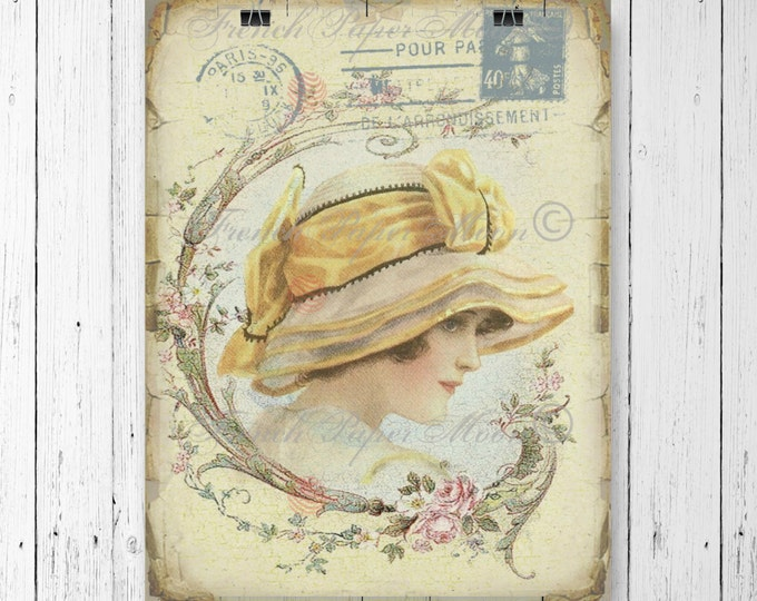 French Vintage Digital Image, Victorian lady, Yellow Hat, Vintage French Digital Collage Sheet, French Pillow Image