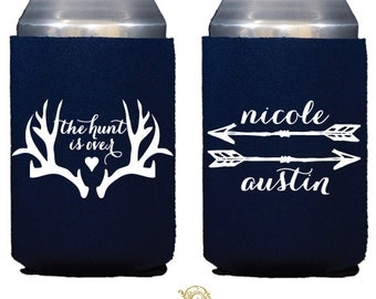 The Hunt is Over Personalized Can Coolers, Personalized Neoprene Can Coolers, Personalized Wedding Favors, Custom Printed Party Favors