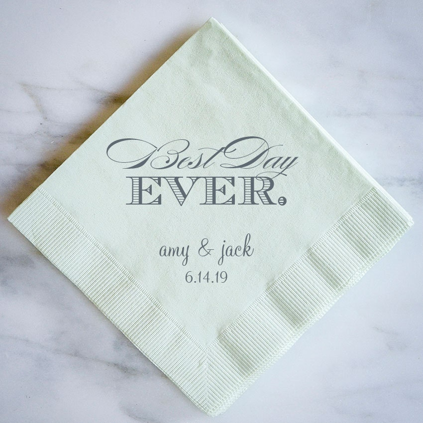 best day ever personalized napkins custom wedding napkins