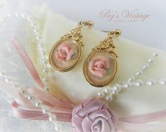 Vintage Pink Rose Earrings, Porcelain Earrings, Rose Dangle Earrings