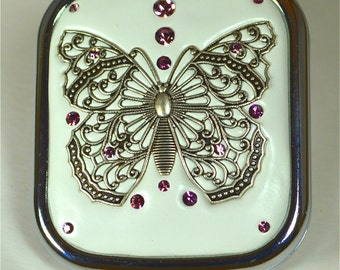 Beautiful Butterfly Jeweled Compact Mirror
