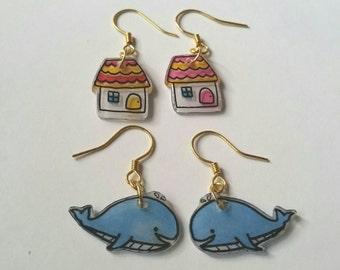 Polyshrink shrink plastic earrings - House or Whale