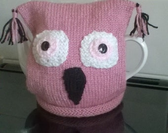 Hand Knitted Pink Owl Tea Cosy