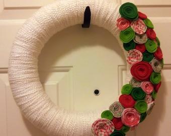 Red & Green Rosette Christmas Wreath