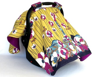 Fuchsia Floral Cover – Handmade One of a Kind Pink and Yellow Flower - Vintage Fabric Baby Car Seat Canopy