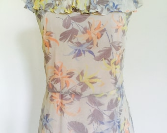 Stunning 1930's vintage floral chiffon dress