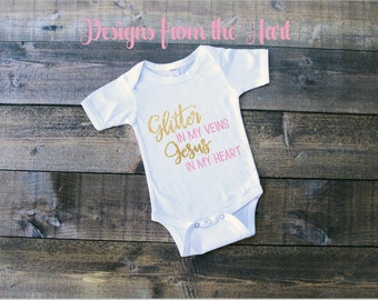 Glitter and Jesus baby bodysuit