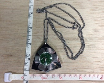 """Vintage 27"""" Focal De Luxe Watch Necklace Crystal Cracked Not Working Damaged Used"""