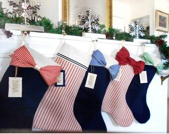 Coastal Christmas stockings - Navy blue Christmas stocking - Nautical beach Stockings - Personalized stockings -FREE Shipping