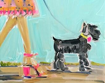 Miniature Schnauzer Print, figurative, girl with heels,