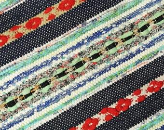 "Swedish retro vintage 1970s 32 * 43 ""/ inch HANDMADE handwoven cotton rag rug carpet"