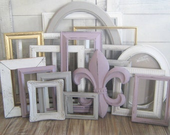 Gallery Wall Frames Set farmhouse picture frame wall decor ombre gray frame set
