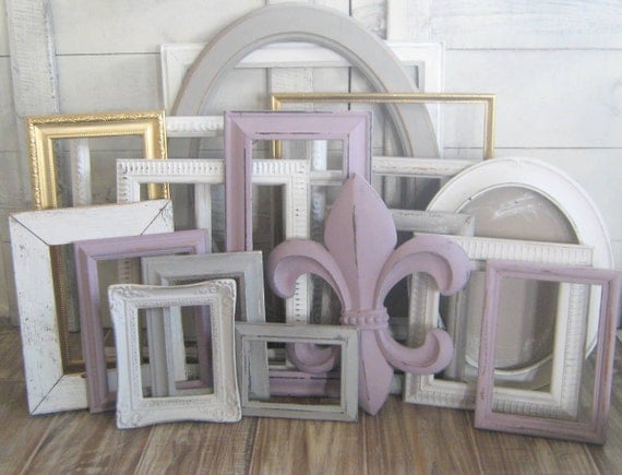 gallery wall frame set purple gold white gray picture. Black Bedroom Furniture Sets. Home Design Ideas