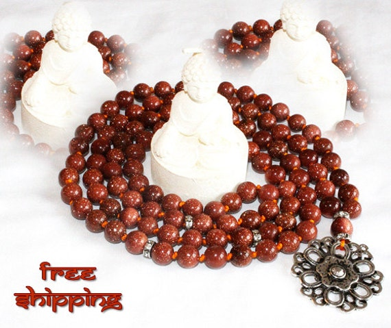 Japa Mala Hand Knotted 108 Gemstone Sun Stone 8mm Beads Prayer Yoga Necklace for Meditation and Mantra - free Shipping