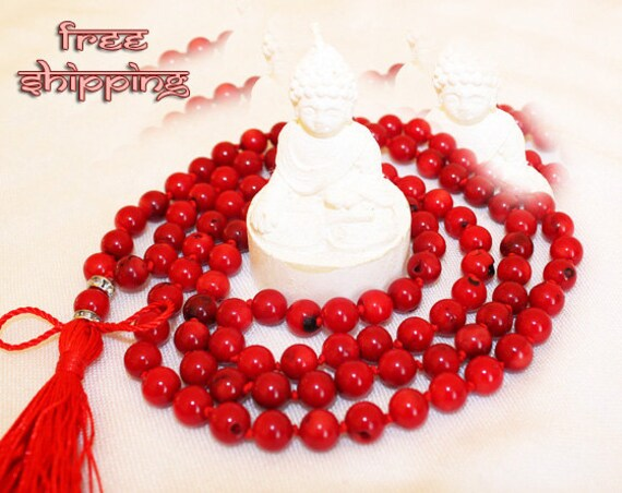 Japa Mala Hand Knotted 108 Coral 8mm Beads Prayer Yoga Necklace for Meditation and Mantra - Free Shipping
