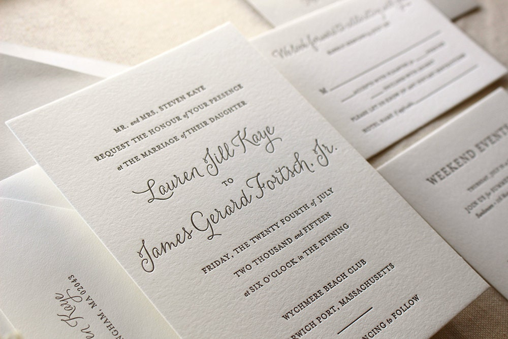 Letter Press Wedding Invitation: The Lily Suite Chic Letterpress Wedding Invitation Suite