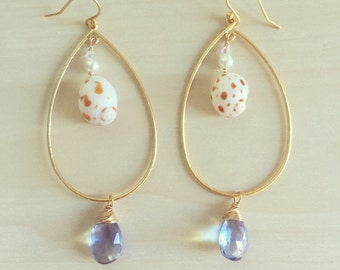Gemstone Shell Hoop Earrings, Gemstone Earrings, Blue Earrings, Mystic Quartz Earrings, Ocean Beach Jewelry, Hawaii Jewelry