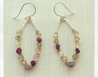 Silver Hammered Hoops, Gemstone Hoops