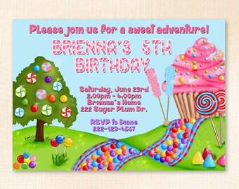 Candyland Birthday Invitation - Printed Invitations with Envelopes