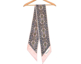 Paisley Scarf - Vintage Rossini Scarf - Boho Designer Vintage Long Thin Scarf - Pink Traditional Paisley Scarf