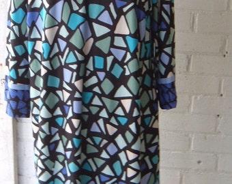 Women's retro dress - 80s dress- retro dress- polyester dress- womens clothes - retro 80s dress- casual retro dress- womens wear
